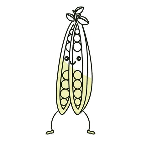 string bean fresh vegetable character vector illustration design