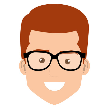 young man head with glasses avatar character vector illustration design