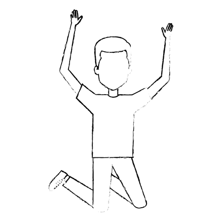 young man celebrating with hands up vector illustration design