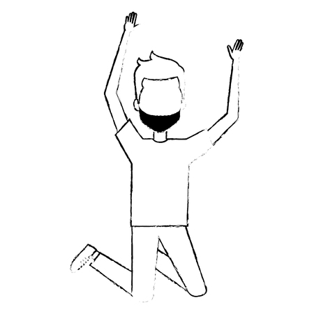 youngster: young man celebrating with hands up vector illustration design