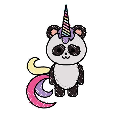 Cute fantasy panda bear with unicorn horn vector illustration design 向量圖像