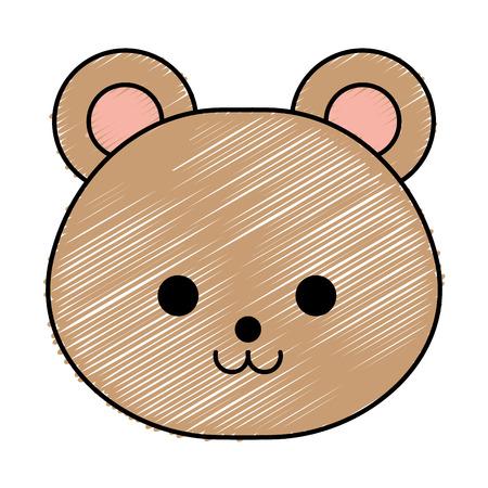 cute little bear character vector illustration design