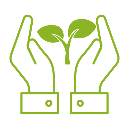 hands with leafs plant ecology icon vector illustration design