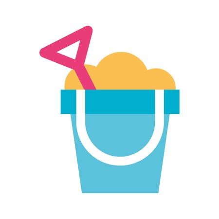 sand bucket beach toy vector illustration design
