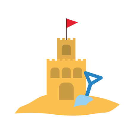 beach sandcastle with shovel vector illustration design Ilustração