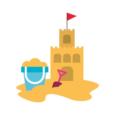 Castello di sabbia della spiaggia con progettazione dell'illustrazione di vettore del secchio della sabbia Archivio Fotografico - 80240276