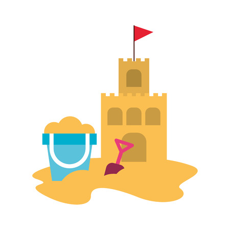 beach sandcastle with sand bucket vector illustration design