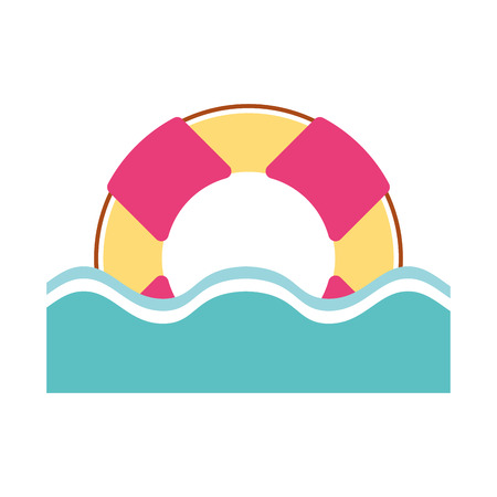 float lifeguard with water vector illustration design
