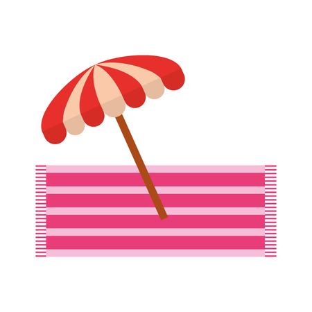 Strand paraplu zomer met towell vector illustratie ontwerp