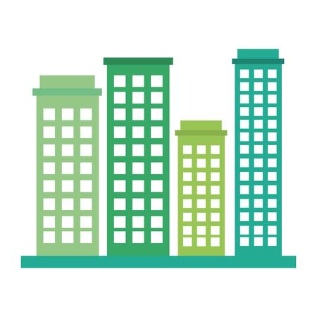 Edifici paesaggio urbano isolato icona illustrazione vettoriale di progettazione Archivio Fotografico - 80240342