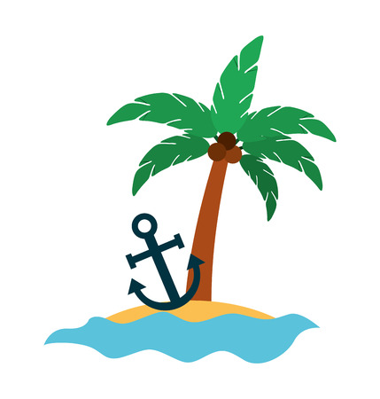 tree palm with anchor summer icon vector illustration design Çizim