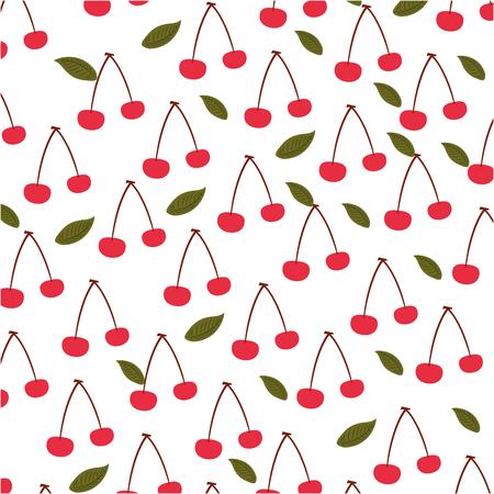 桜の熱帯およびエキゾチックなフルーツ パターン ベクトル イラスト デザイン