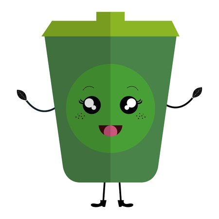 ecology recycle bin character vector illustration design Illustration
