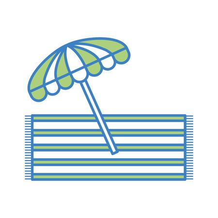 towell ベクトル イラスト デザインとビーチ傘夏  イラスト・ベクター素材