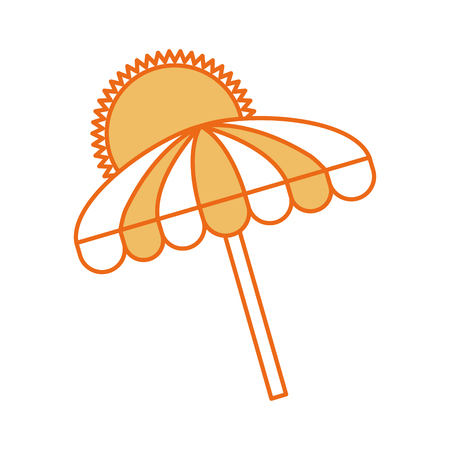 beach umbrella summer with sun vector illustration design