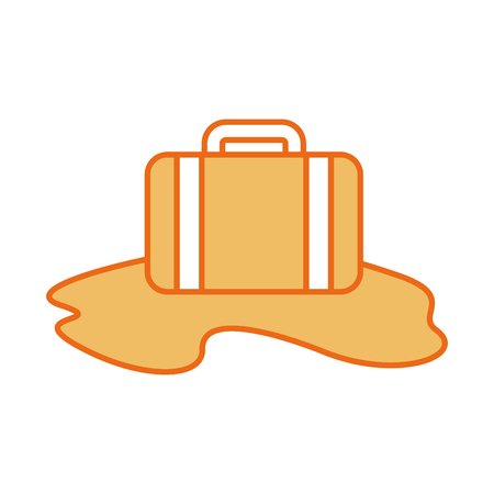 travel suitcase with sand vector illustration design