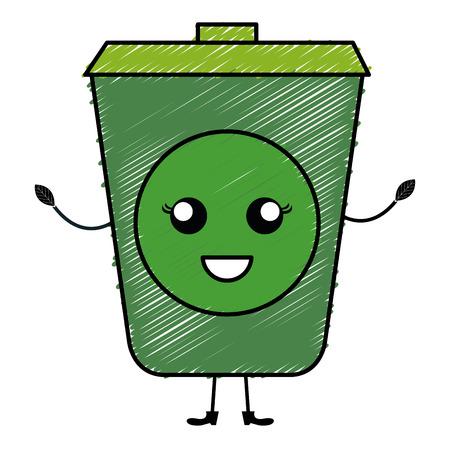 Ökologie-Papierkorb-Charaktervektor-Illustrationsdesign Vektorgrafik