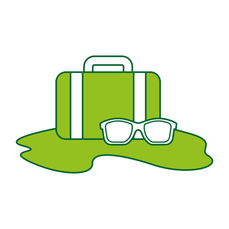 travel suitcase with sunglasses vector illustration design