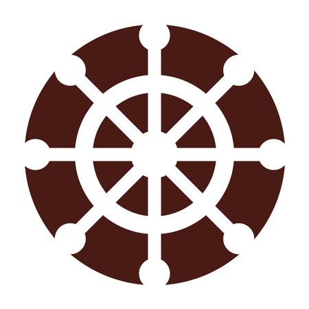 Timone di barca isolato icona illustrazione vettoriale di progettazione Archivio Fotografico - 80253353
