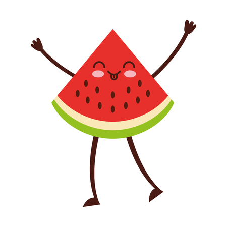 watermelon tropical and exotic fruit character vector illustration design