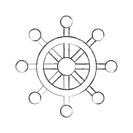 Timone di barca isolato icona illustrazione vettoriale di progettazione Archivio Fotografico - 80253877