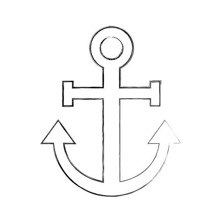 항해 앵커 격리 된 아이콘 벡터 일러스트 레이 션 디자인