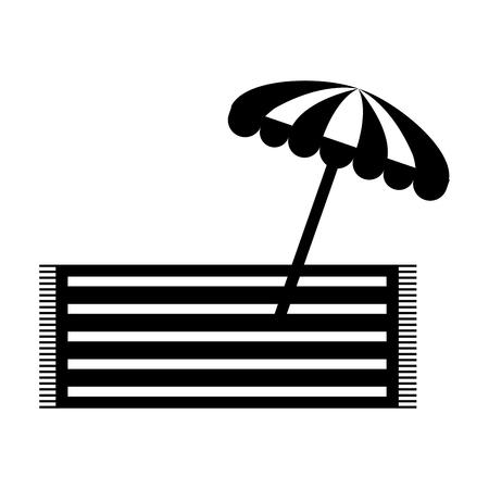 beach umbrella summer with towell vector illustration design