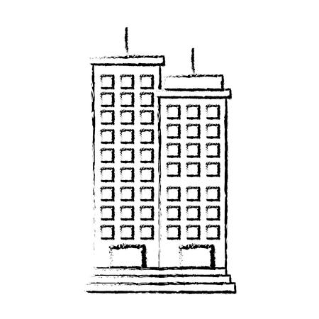Edifici paesaggio urbano isolato icona illustrazione vettoriale di progettazione Archivio Fotografico - 80240531