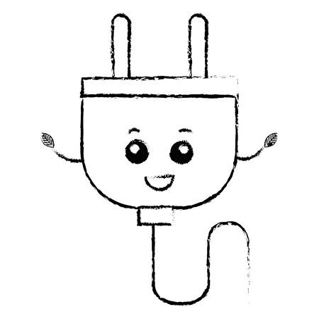 effectiveness: energy plug kawaii character vector illustration design
