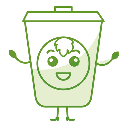 ecology recycle bin kawaii character vector illustration design Illustration