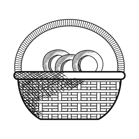 basket with pretzel product vector illustration design 向量圖像
