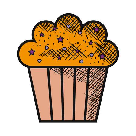 甘くておいしいカップケーキ ベクトル イラスト デザイン