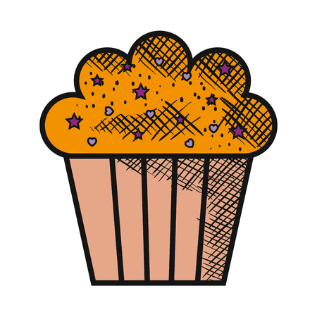 delicious and sweet cupcake vector illustration design Çizim