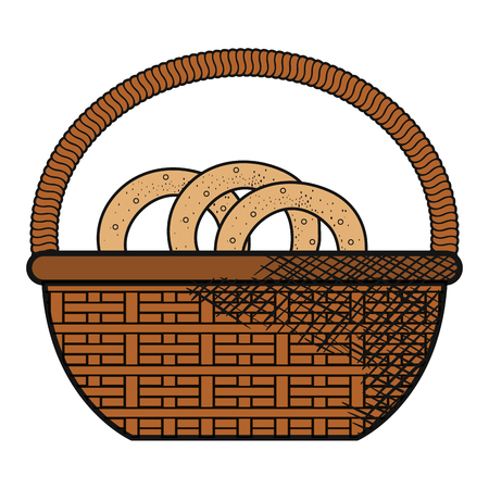 Basket with pretzel product vector illustration design