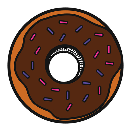 A delicious sweet donut icon vector illustration design