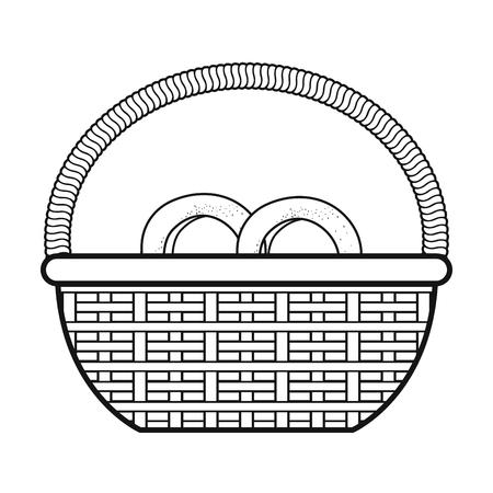 basket with pretzel product vector illustration design Illustration