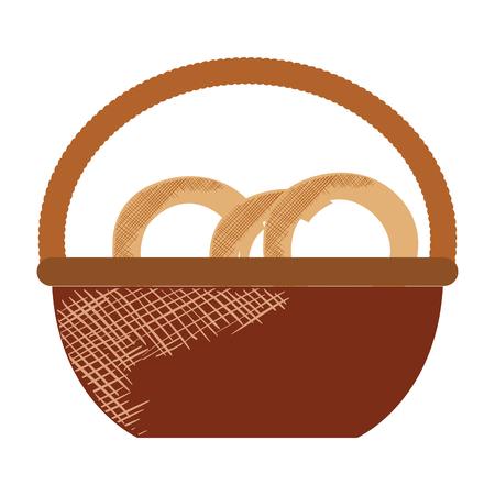 Korb mit Brezel Produkt Vektor-Illustration Design Standard-Bild - 80241056