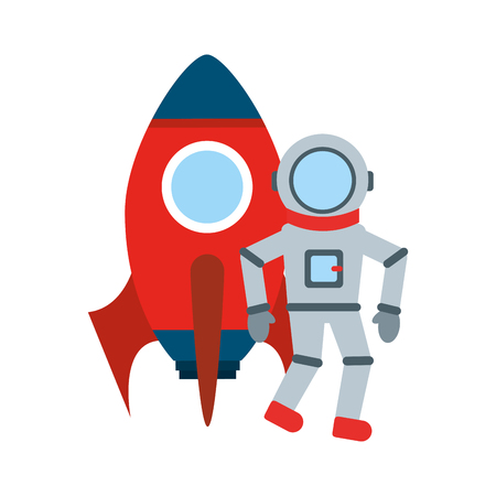 astronaut with rocket comic character icon vector illustration design