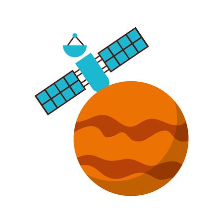 artificial satellite on planet vector illustration design