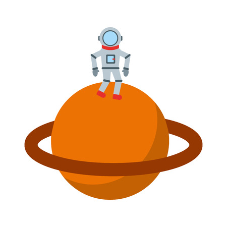 astronaut in saturn comic character icon vector illustration design Illustration