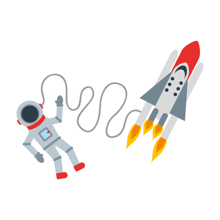 launcher: astronaut with rocket comic character icon vector illustration design