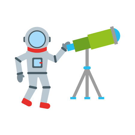 Astronaut with telescope comic character