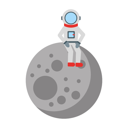 astronaut in the moon comic character icon vector illustration design