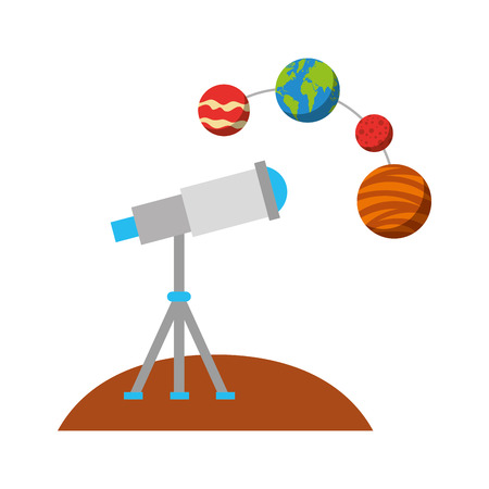 우주 벡터 일러스트 레이션 디자인을 관찰하는 망원경