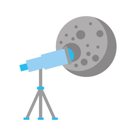 Telescope observing the moon vector illustration design Ilustração