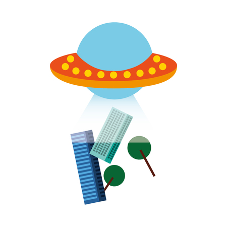 unidentified flying object abducting city vector illustration design 向量圖像