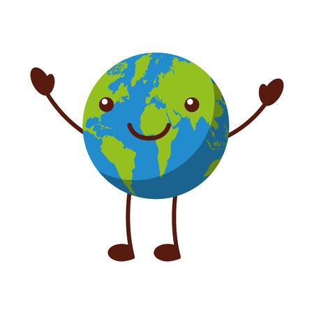 illustrates: world planet earth comic character vector illustration design kawaii