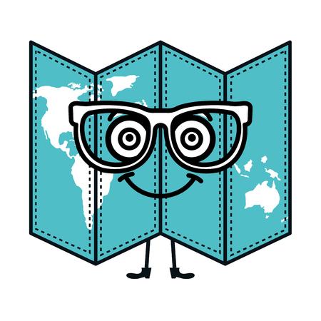 paper map  character vector illustration design