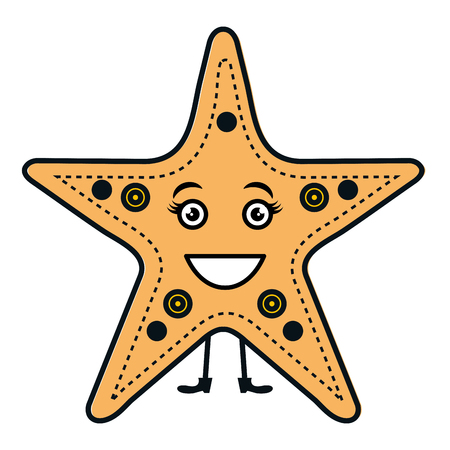 starfish tropical summer  character vector illustration design
