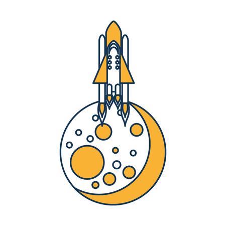 Natürlichen Satelliten Mond mit Rakete Vektor-Illustration Design Standard-Bild - 80255496